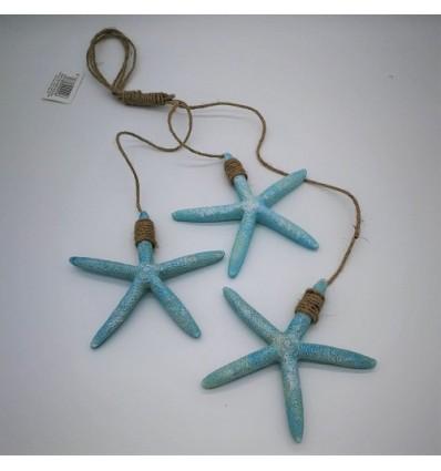 Decoratiune cu 3 stele de mare bleu din rasina