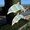 Pereche delfini din lemn reciclat