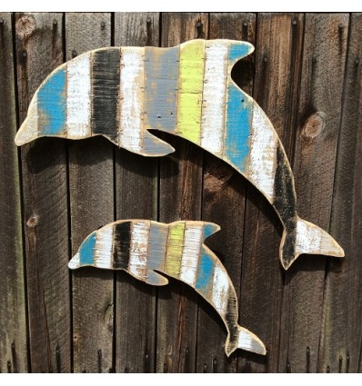 Pereche delfini din lemn reciclat 2